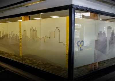 vinyl architectural graphics window glass installation perforated film